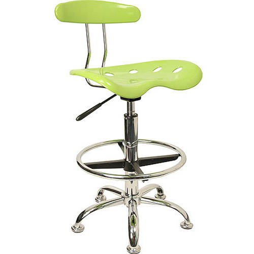 Flash Furniture Adjustable Height Drafting Stool with Tractor Seat, Apple Green