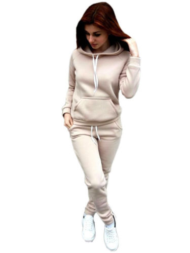 Women's 2pcs Hoodies Sweatshirt Ladies Joggers Lounge Wear Tracksuit Sport Suit