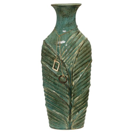 Mossy Oak Brand - Ceramic Vase with Tassel Trim - Hunting Green ()