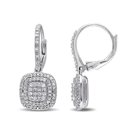 1/2 Carat T.W. Diamond Sterling Silver Halo Dangle Leverback Earrings Diamond Dangle Leverback Earrings