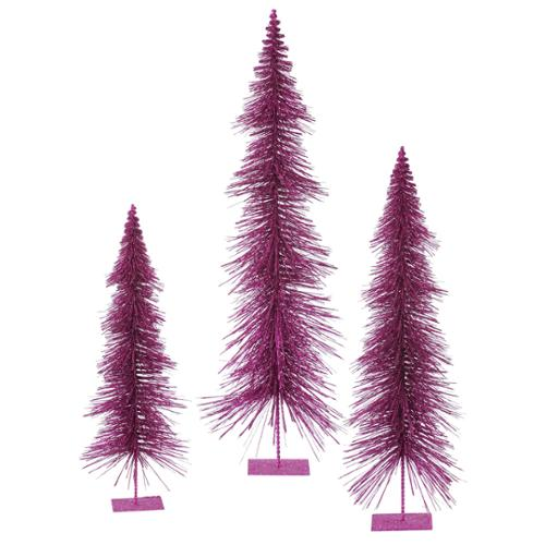 Set of 3 Magenta Purple Glitter Layered Artificial Christmas Trees - Unlit