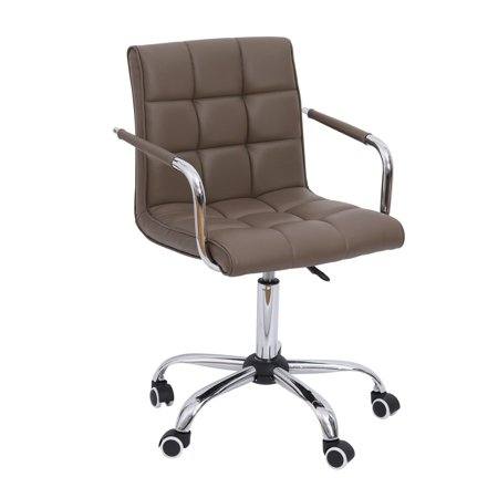 Modern Tufted PU Leather Midback Home Office Chair - Brown ()