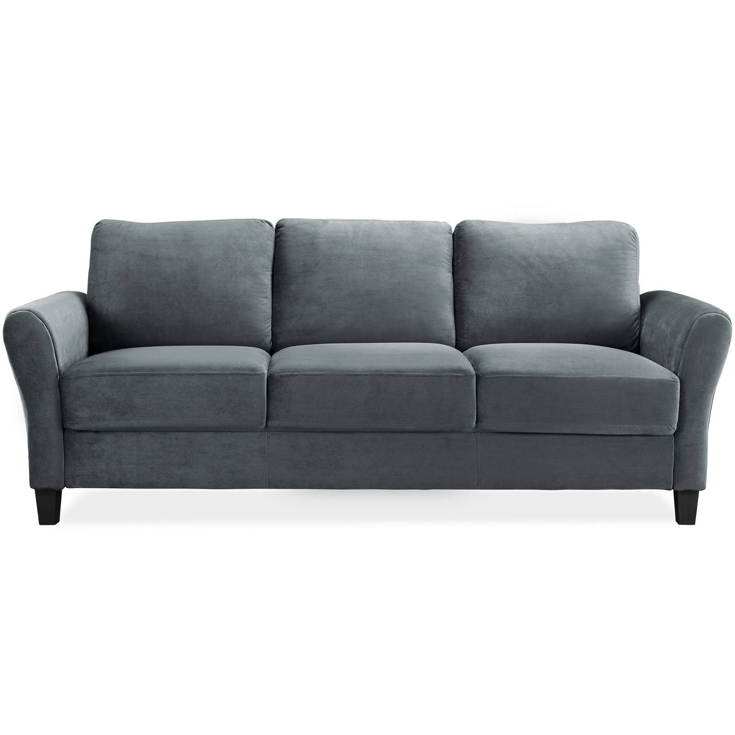 Alexa Rolled-Arm Sofa, Dark Grey by LifeStyle Solutions