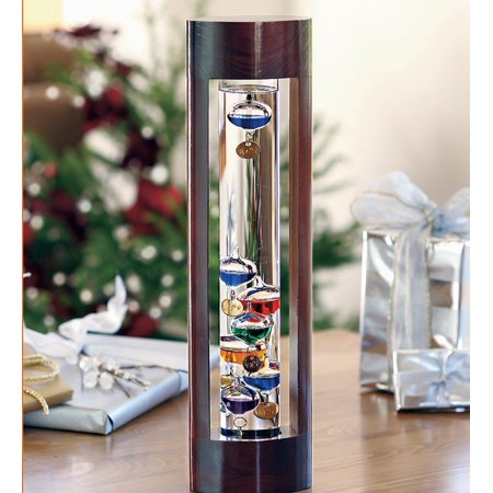 Galileo Thermometer with Beautiful Cherry Finish Wood Frame - Gallery Cherry Solid Wood
