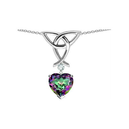 Mystic Knot Pendant (Star K Love Knot Pendant Necklace with 8mm Heart Shape Rainbow Mystic Quartz in Sterling)