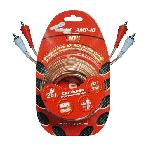 Audiopipe AMP10 RCA Cable 10' OFC Clear Installer Series