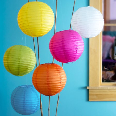 Chinese/Japanese Paper Lanterns, Hanging Decorations for Parties, Weddings, and Home Decor (14-Inch, Parallel Style Ribbed, Multicolor, Set of 6)