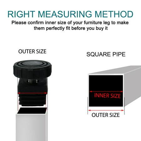 Leveling Feet 38 x 38mm Square Tube Insert Furniture Adjustable Leveler 8 Sets - image 6 de 8