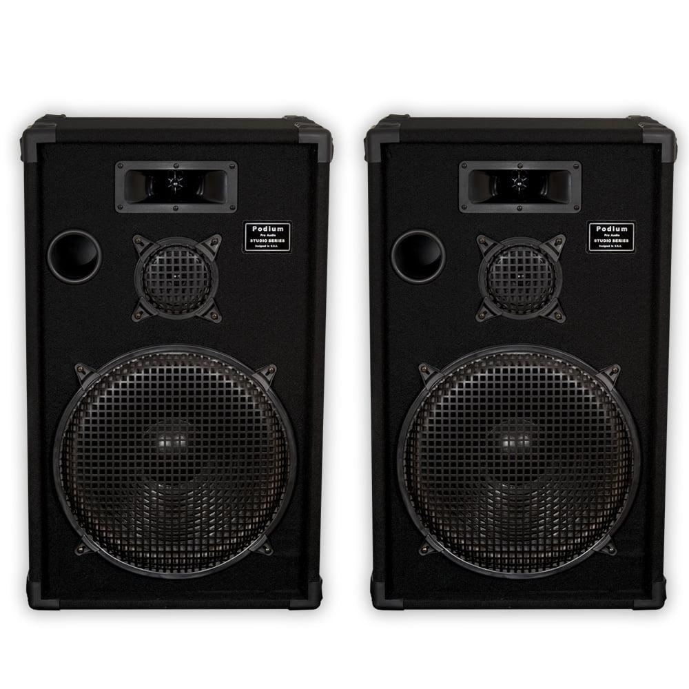 """Podium Pro E1500C Passive 15"""" Speakers 1200W PA DJ Karaoke Home 3 Way Pair E1500C-PR"""