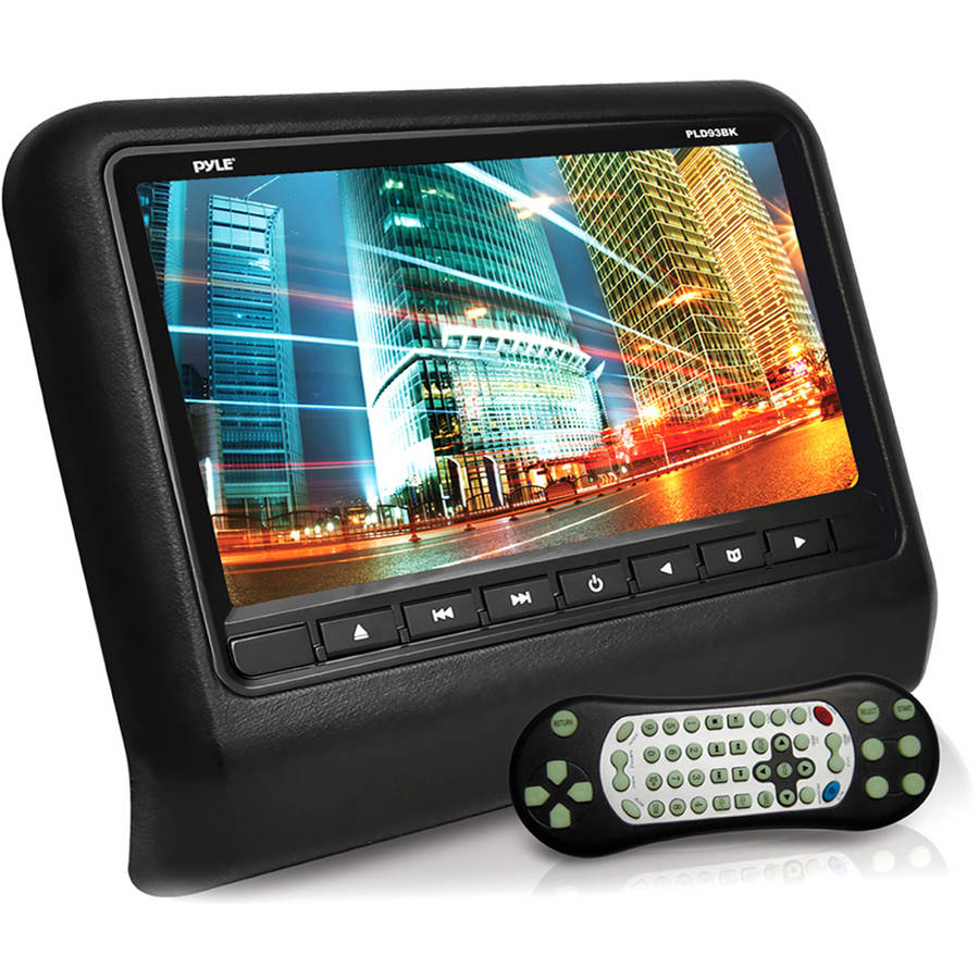 Pyle Headrest Vehicle 9'' Video Display Monitor, CD/DVD Player, USB/SD Readers, HDMI Port (Black)