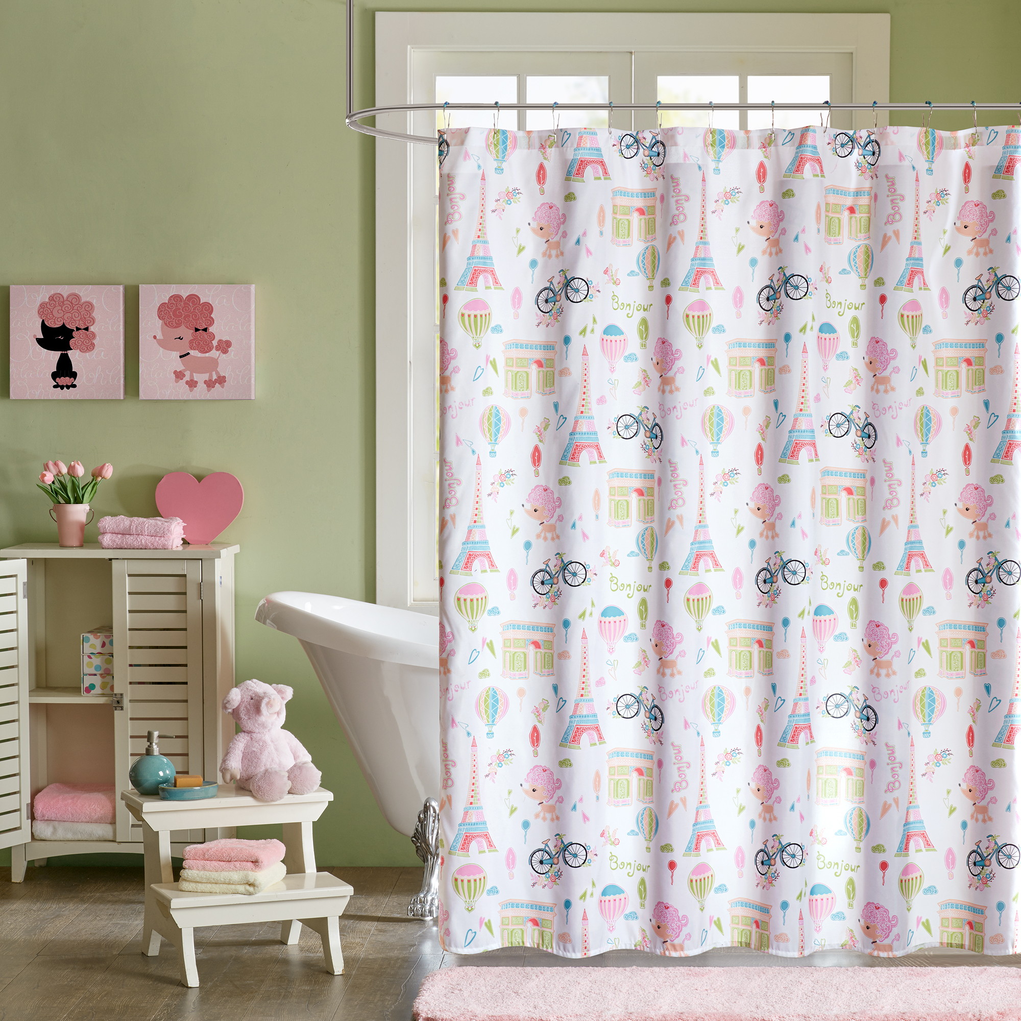home essence kids poodles in paris printed shower curtain