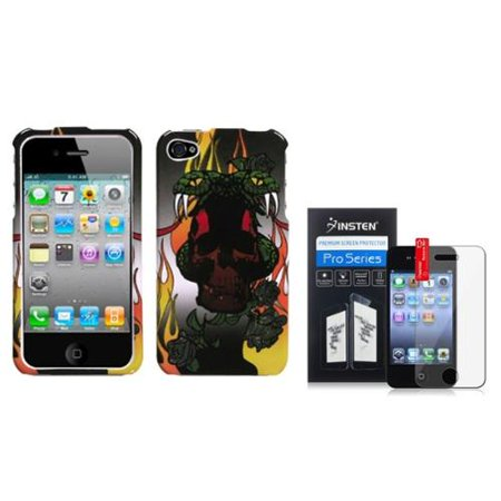 Insten Snake Pattern Snap-On Phone Cover Hard Case Skin For Apple iPhone 4/4s+LCD Clear Screen Protector