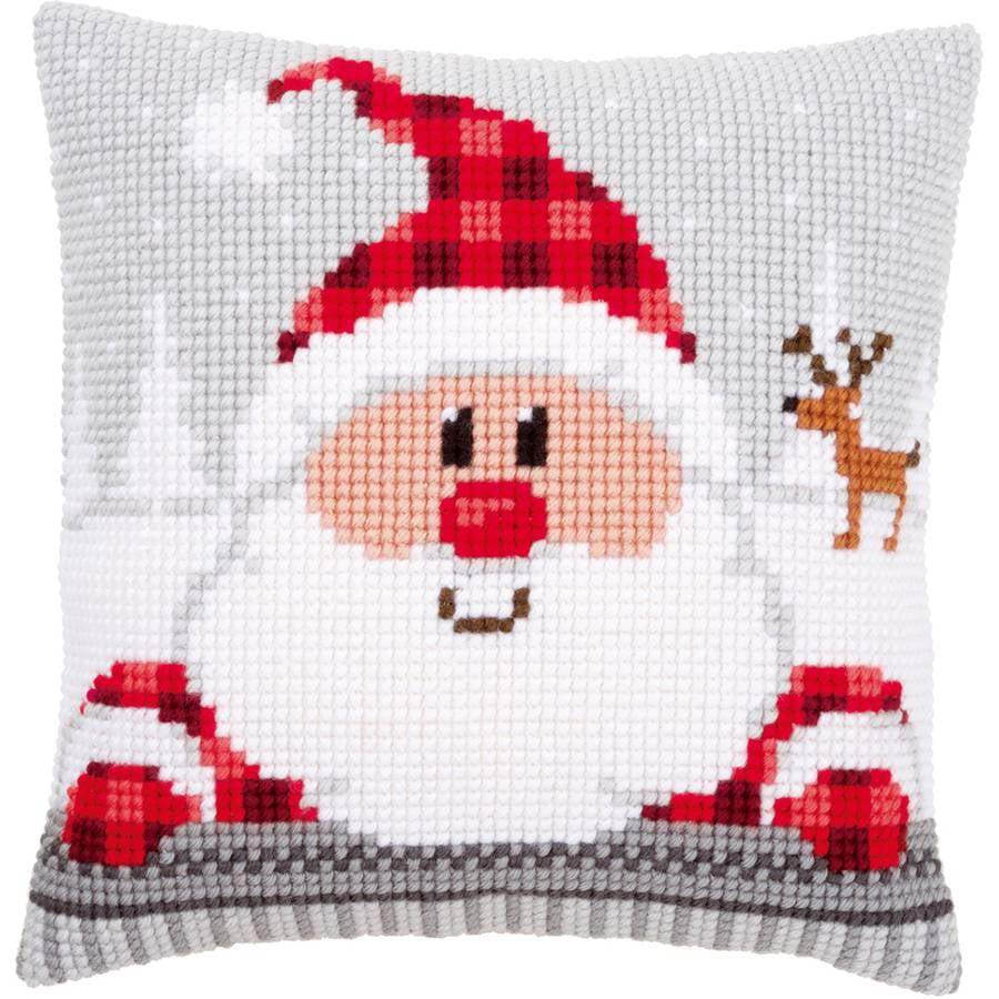 """Santa In A Plaid Hat Cushion Cross Stitch Kit, 16"""" x 16"""""""