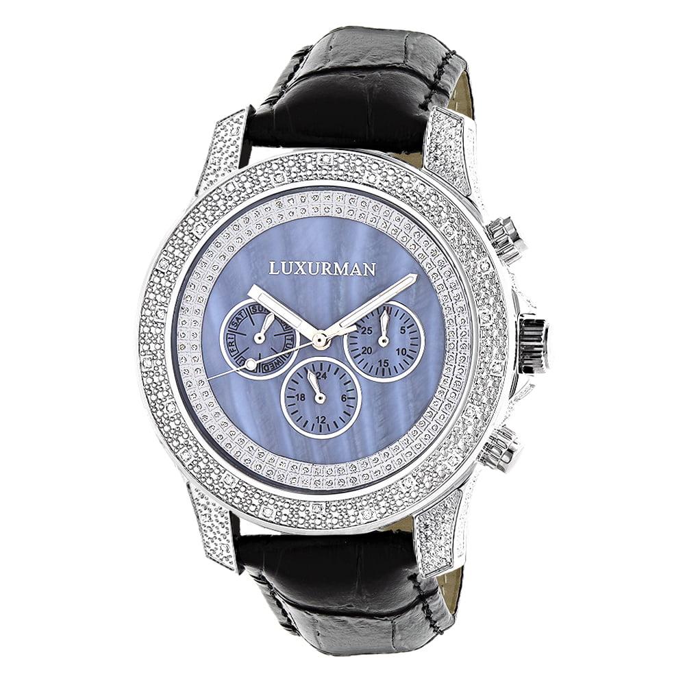 Luxurman Mens Designer  Diamond Watch 0.50ct Blue Freeze