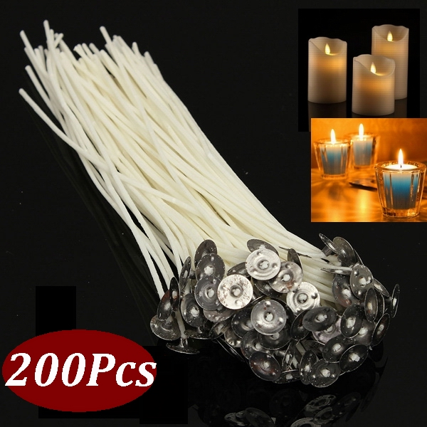 6 Inch and 8 Inch Long Buytra 200 Pack Candle Wicks Pre-Waxed Wick with Candle Wick Centering Device for Candle Making Supplies