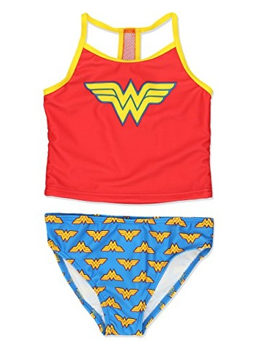Wonder Woman Superhero Girls Tankini Swimwear Swimsuit (6X, Red/Blue)