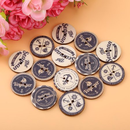 100 Pcs Print Sea Anchor Wood Buttons with 2 Holes for DIY Sewing Craft Decorative , Clothing Sewing , Round Wood Buttons for $<!---->