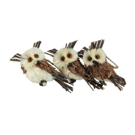 Northlight Holiday Moments Brown Owl Sisal Christmas Ornament - Set of 3 - Christmas Owls