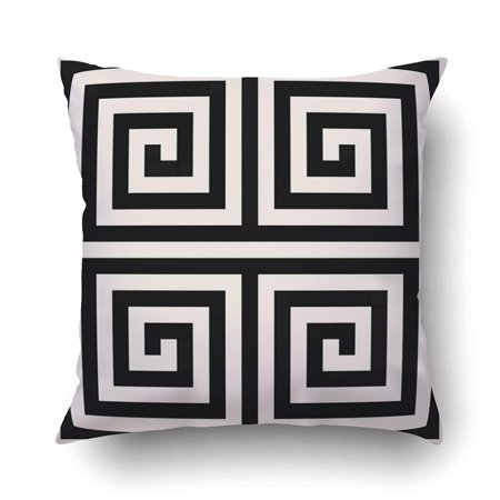 ARTJIA elegant Chic Black And White Greek Key Geometric Patterns Pillowcase Pillow Cushion Cover 18x18