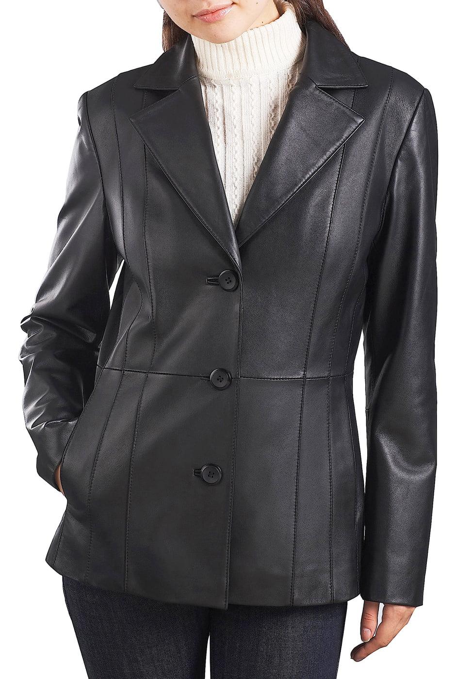 "Women's ""Crystal"" Three-Button New Zealand Lambskin Leather Blazer - Regular & Short"