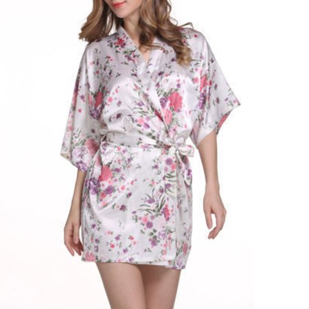 Floral Print Sakura Sleepwear Nightgown Satin Robes Silk Woman Kimono Bandage Nightwear Bathrobe Housewear -
