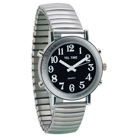 Mens Chrome Talking Watch - Black Face, Expansion Band (Chrome Watch)