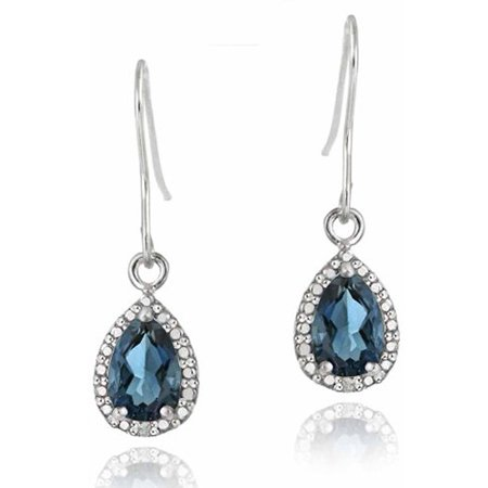 3 Carat T.G.W. London Blue Topaz and Diamond Accent Sterling Silver Teardrop Dangle - Citrine Teardrop Earrings