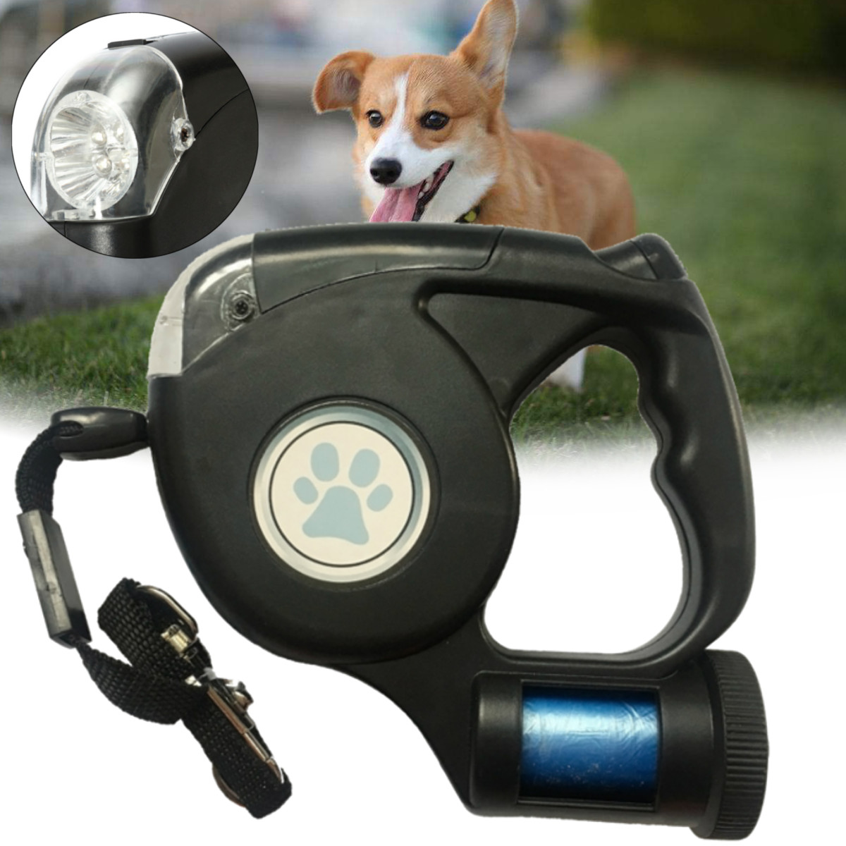 Moaere 4.5M Retractable Dog Leash  Walking Leash with Detachable Flashlight LED Torch Large Dogs up to 110lbs