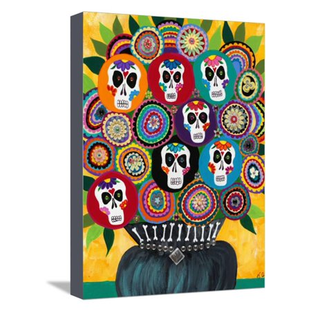 Sugar Skull Bouquet Day of the Dead Bohemian Floral Art Stretched Canvas Print Wall Art By Kerri Ambrosino