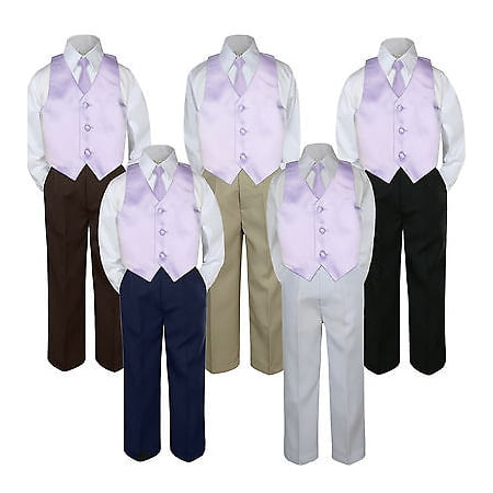 80507a703f367 4pc Lilac Light Purple Vest   Tie Suit Set Baby Boy Toddler Kid Uniform S-7
