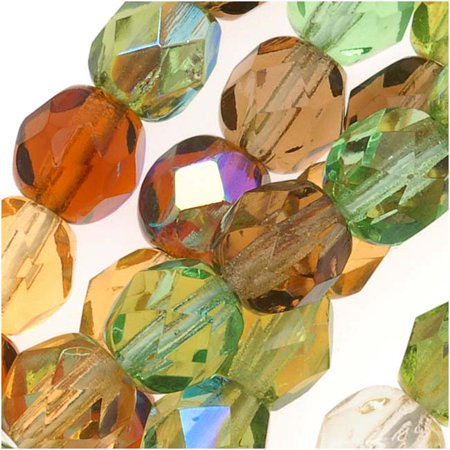 Czech Fire Polished Glass Beads 6mm Round 'Earthtones Green Brown Amber Mix' (50) Brown Glass Bead