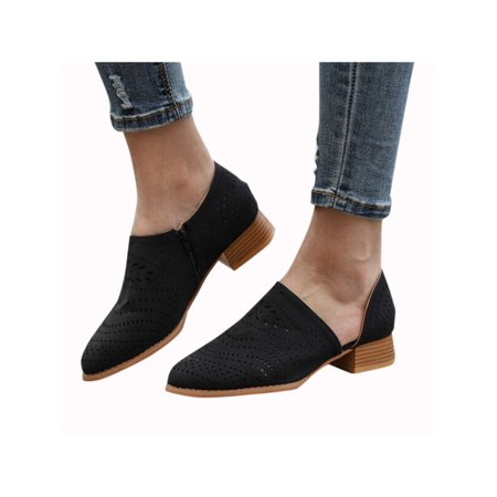 Women Low Heels Ankle Boots Booties Round Toe Zipper Slip On Casual Shoes](Boots Low Price)