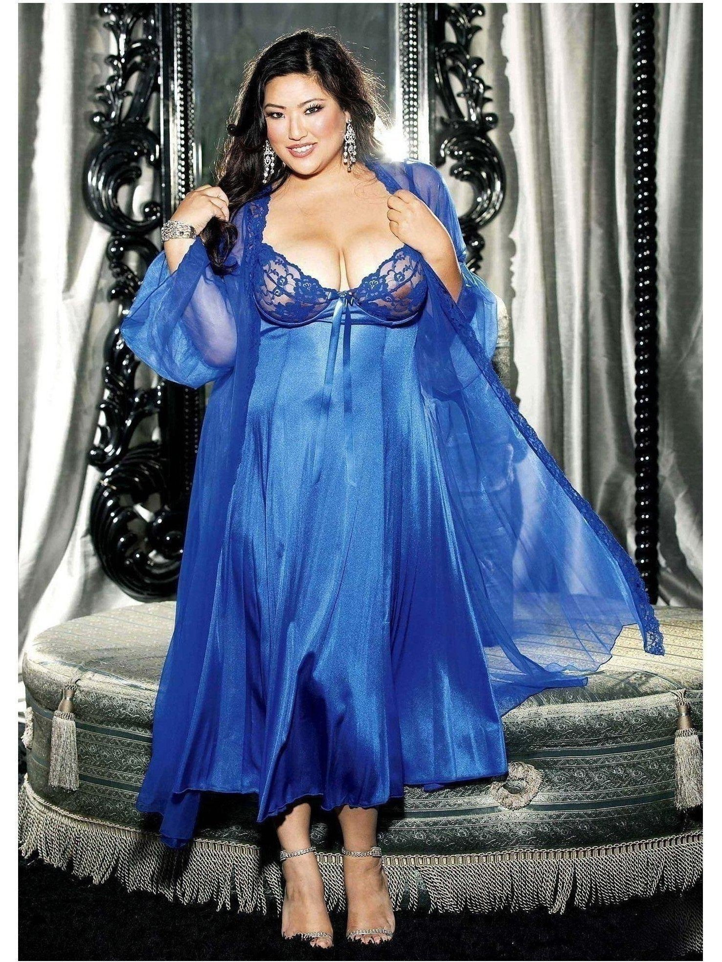 Shirley of Hollywood DS-IA-XX3489 2 PC set Long Gown Peignoir 6X / Royal