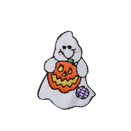 Small Ghost - Holding Jack o'Lantern Pumpkin - Iron on Applique/Embroidered