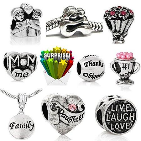 Mothers Day Bulk Charm Beads for Snake Chain Charm Bracelet Compatible with Pandora Bracelet - Silicone Bracelets Bulk