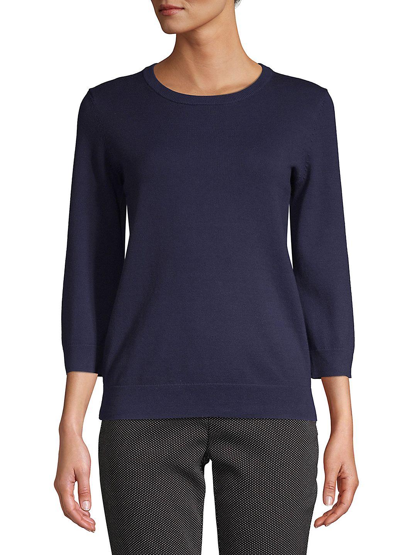 Petite Three Quarter Sleeve Knit Sweater