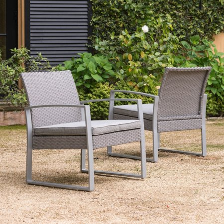 Corvus Alsace Grey Wicker Patio Chairs With Cushions Set Of