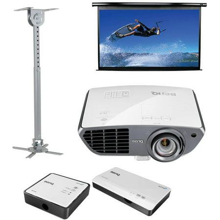 BenQ HT4050 Colorific DLP Full HD Short-Throw Home Theater Projector, Elite Screens Spectrum Series 100