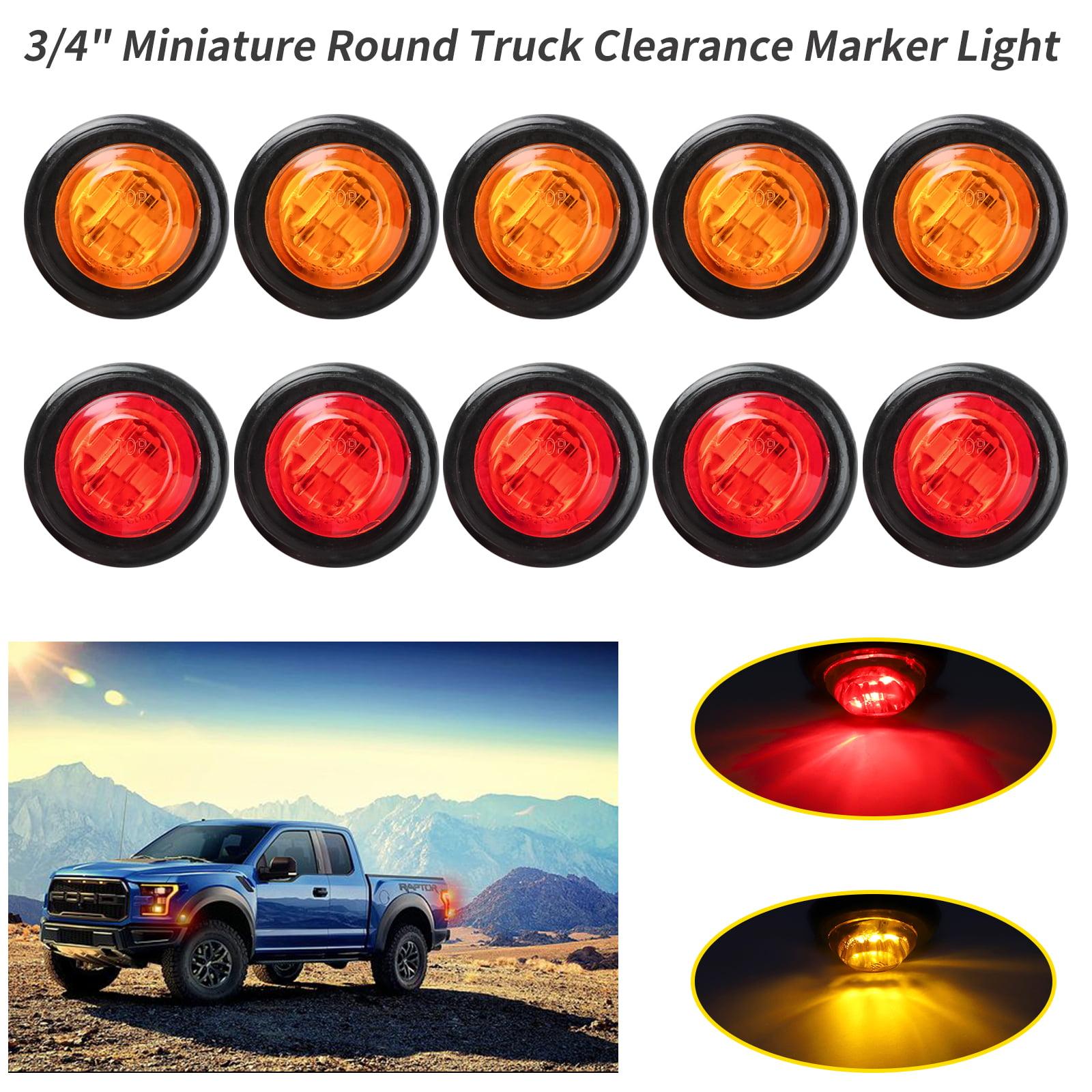 "10 Pcs 3//4/"" Red 3LED Side Marker Clearance Lights Truck Trailer Boat Indicators"