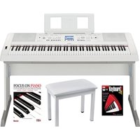 Yamaha DGX660W 88 Key Digital Piano (White) with Knox Piano Bench Dust Cover and Book/DVD