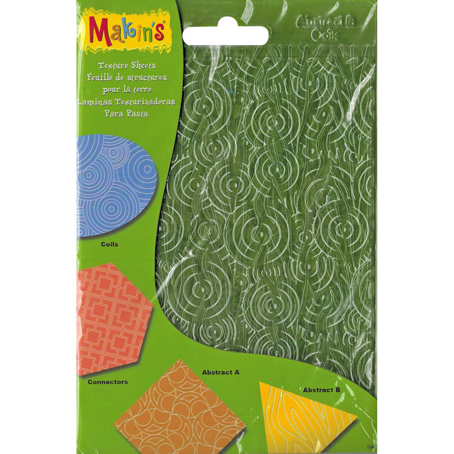 "Makin's Clay Texture Sheets, 7"" x 5.5"", 4pk, Set H (Coils, Connectors and Abstracts)"