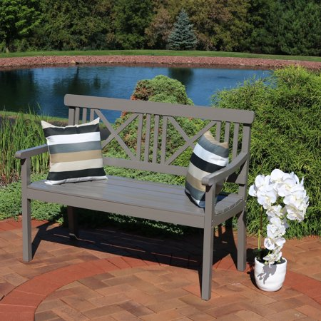 Sunnydaze 2 Person Outdoor Wooden Garden Bench With X Back Design 47 Inch Gray