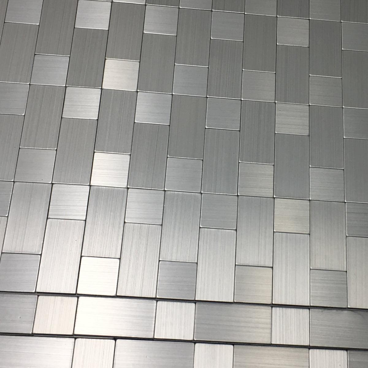 Art3d Aluminium Silver 12 X12 Peel And Stick Backsplash Tile 5 Pack Walmart Com Walmart Com