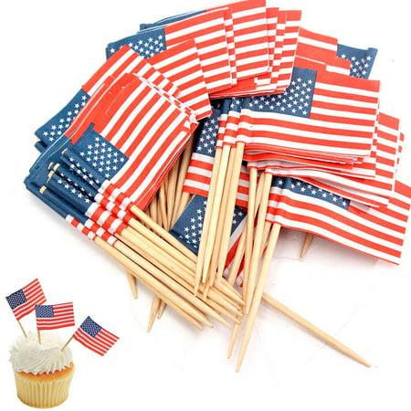 100 American Flag Toothpicks Party Cupcake Decoration Sandwich Mini Food Picks