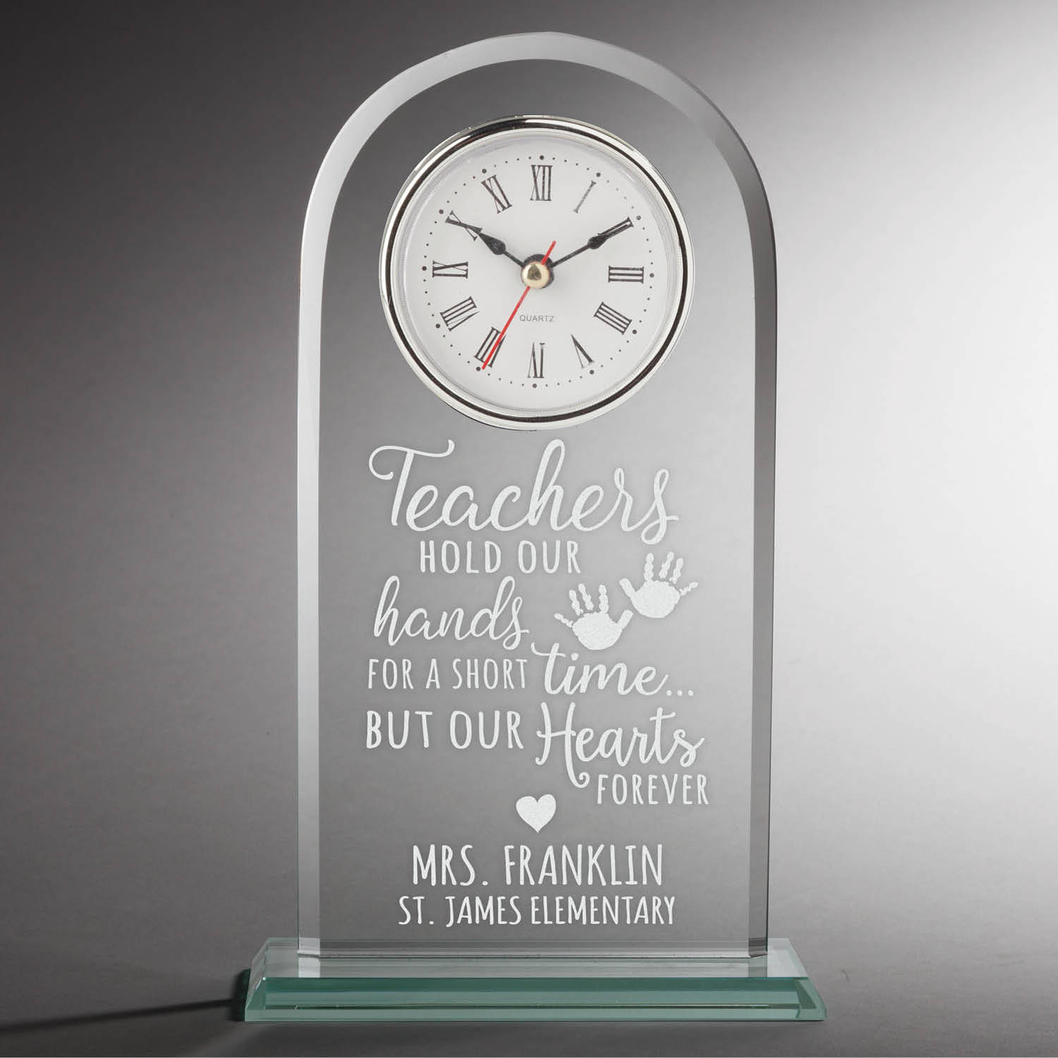 Special Teacher Personalized Glass Clock