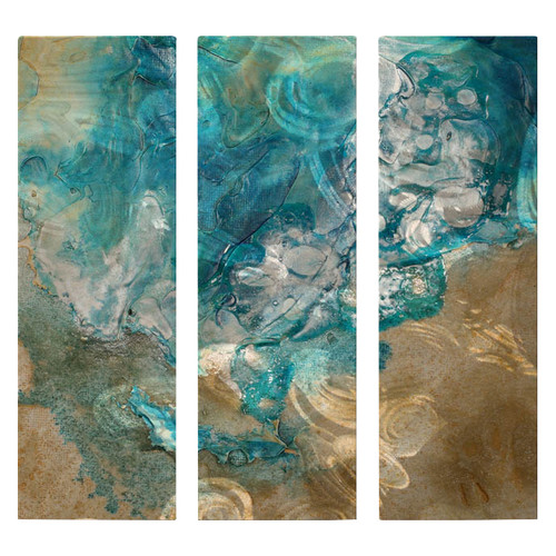 All My Walls 'Lively Tide Pool' by Kelli Money Huff 3 Piece Graphic Art Plaque Set