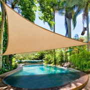 Clevr Premium UV 12'x12'x12' Triangle Sun Shade Canopy Sail for Outdoor Garden Patios, Playground Shade, Sand Beige