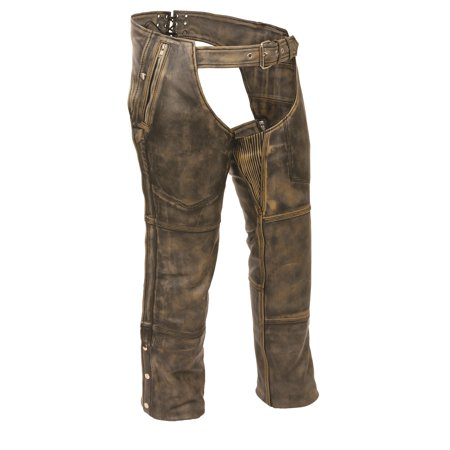 Milwaukee Leather - Mens Distressed Leather 4 Pocket Thermal Lined Chaps - Brown - Size XS