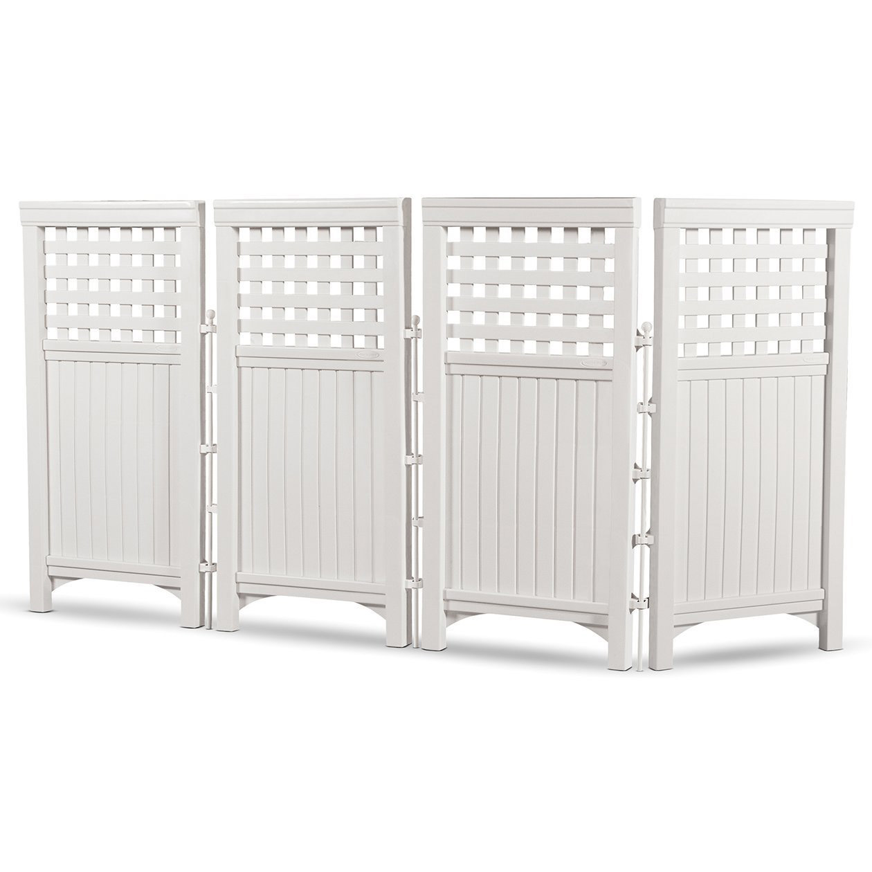 Suncast Outdoor Garden Yard 4 Panel Screen Enclosure Gated Fence, White FS4423 by Suncast