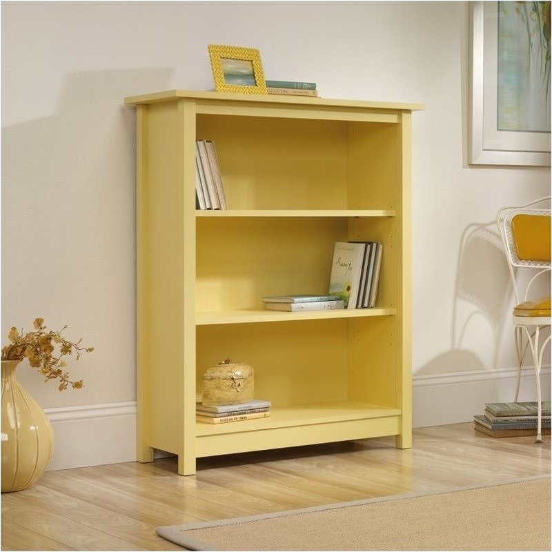 Pemberly Row 3 Shelf Bookcase in Melon Yellow